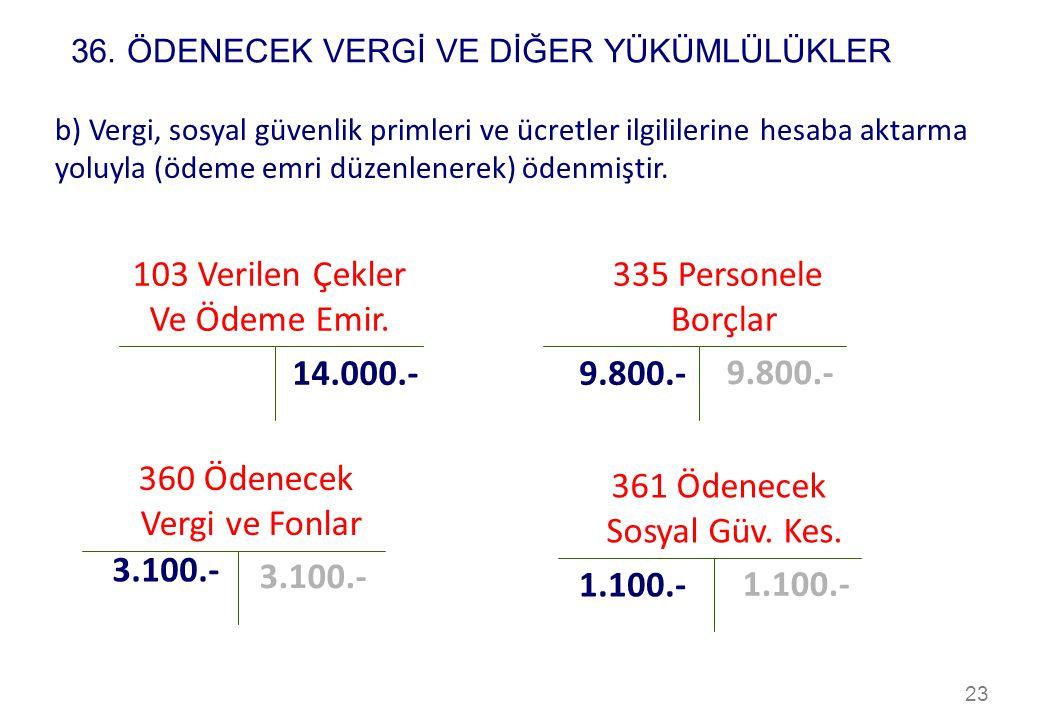103 Verilen Çekler Ve Ödeme Emir. 335 Personele Borçlar 14.000.-