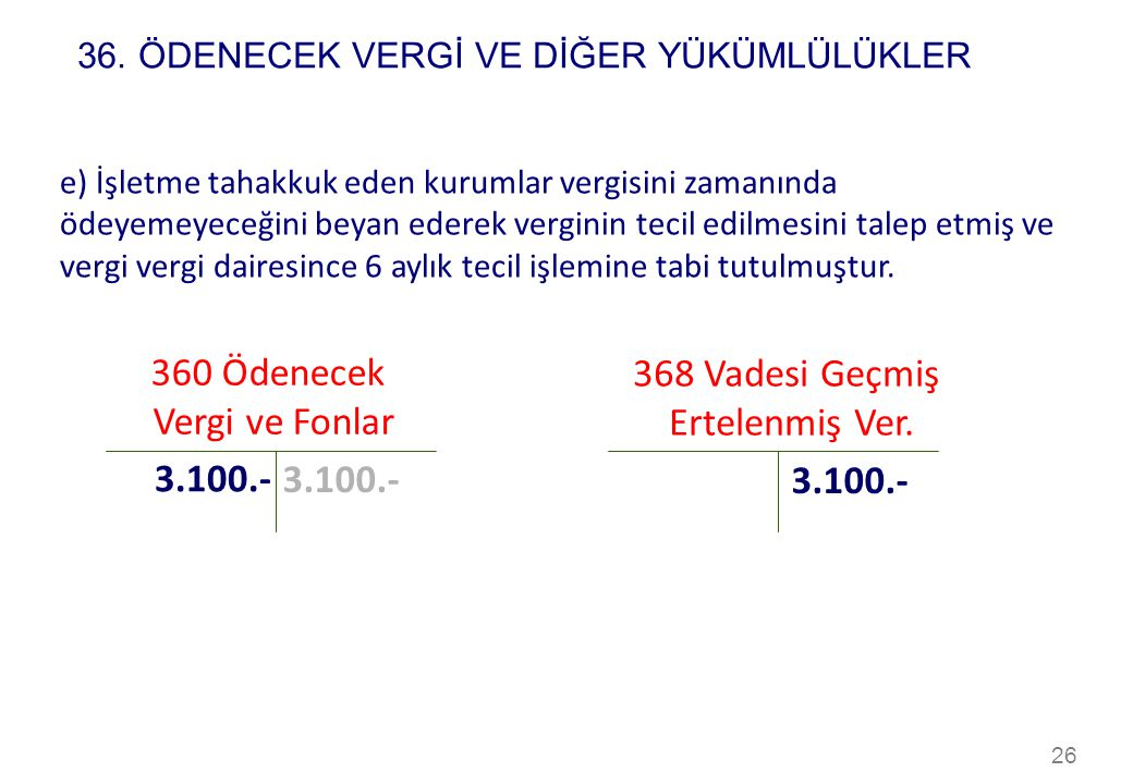 360 Ödenecek 368 Vadesi Geçmiş Vergi ve Fonlar Ertelenmiş Ver. 3.100.-