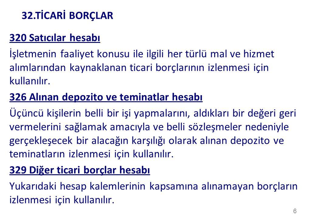 32.TİCARİ BORÇLAR