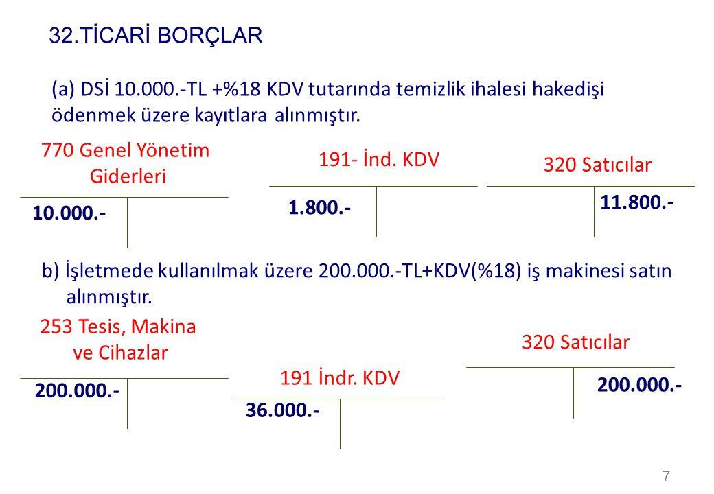 32.TİCARİ BORÇLAR (a) DSİ 10.000.-TL +%18 KDV tutarında temizlik ihalesi hakedişi ödenmek üzere kayıtlara alınmıştır.