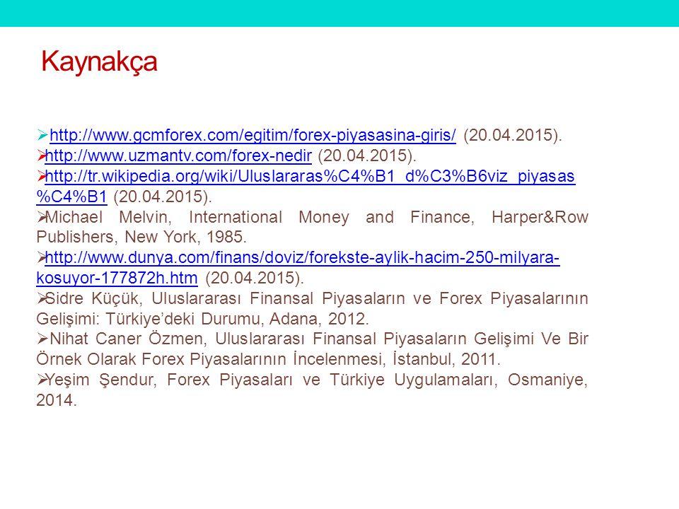 Kaynakça http://www.gcmforex.com/egitim/forex-piyasasina-giris/ (20.04.2015). http://www.uzmantv.com/forex-nedir (20.04.2015).