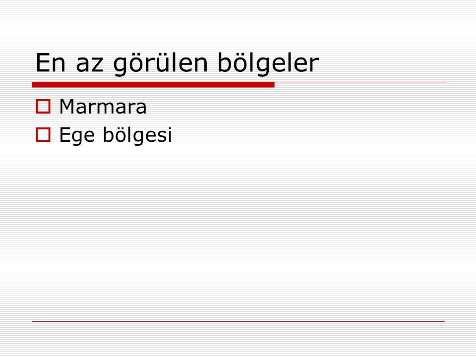 En az görülen bölgeler Marmara Ege bölgesi