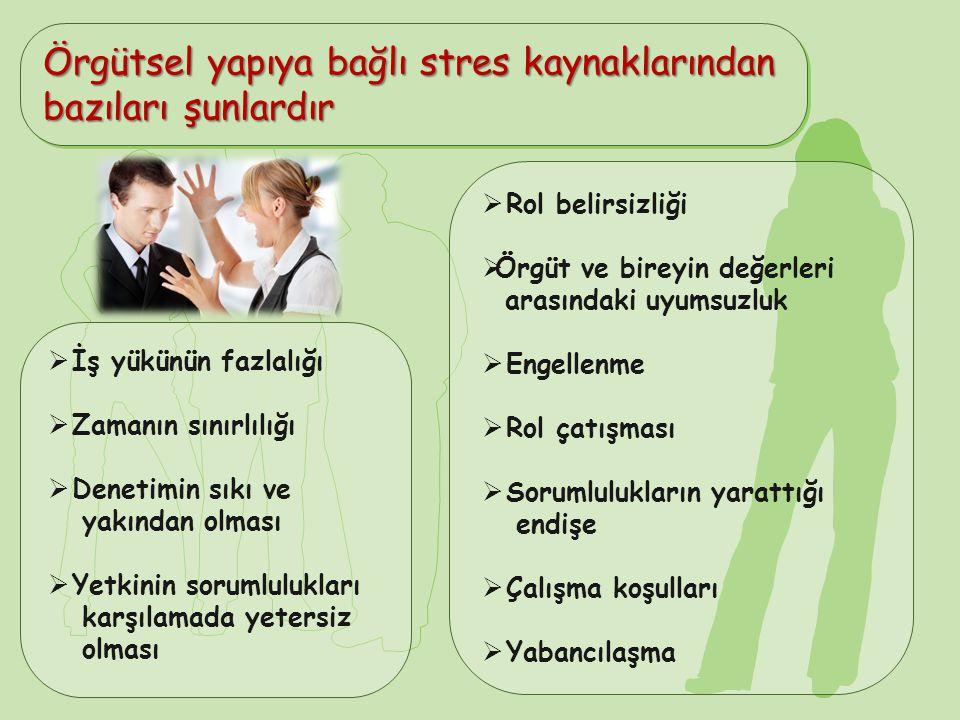 Örgütsel yapıya bağlı stres kaynaklarından bazıları şunlardır