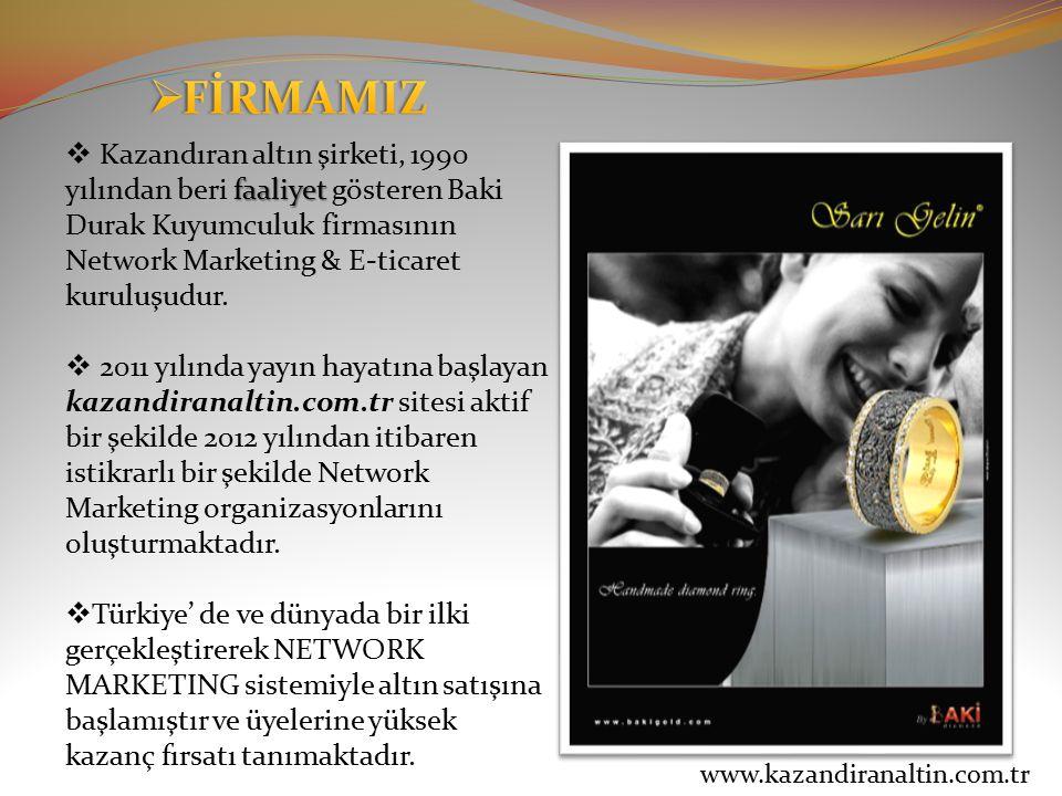 FİRMAMIZ Kazandıran altın şirketi, 1990 yılından beri faaliyet gösteren Baki Durak Kuyumculuk firmasının Network Marketing & E-ticaret kuruluşudur.