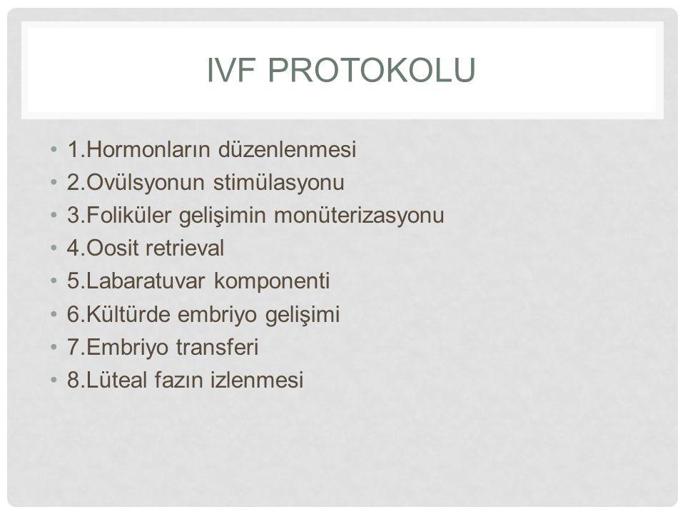 IVF protokolu 1.Hormonların düzenlenmesi 2.Ovülsyonun stimülasyonu