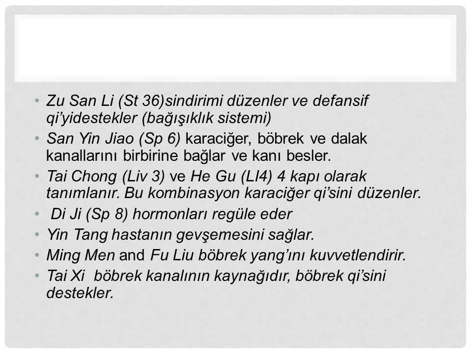 Zu San Li (St 36)sindirimi düzenler ve defansif qi'yidestekler (bağışıklık sistemi)