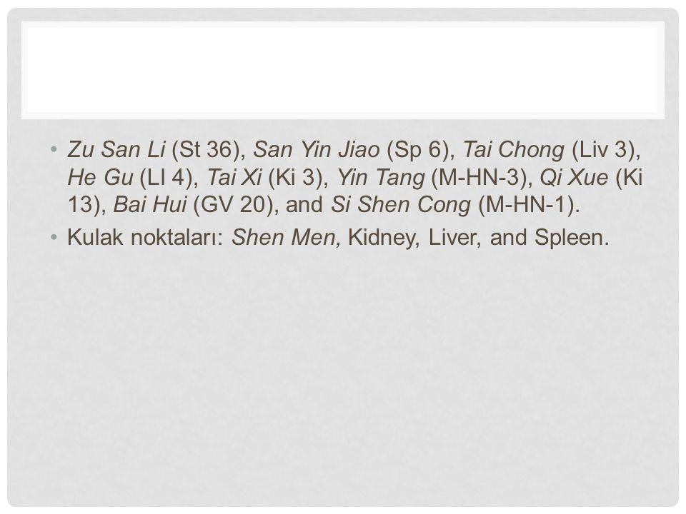 Zu San Li (St 36), San Yin Jiao (Sp 6), Tai Chong (Liv 3), He Gu (LI 4), Tai Xi (Ki 3), Yin Tang (M-HN-3), Qi Xue (Ki 13), Bai Hui (GV 20), and Si Shen Cong (M-HN-1).