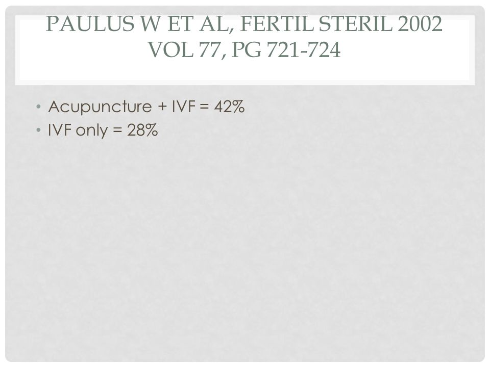 Paulus W et al, Fertil Steril 2002 Vol 77, pg 721-724