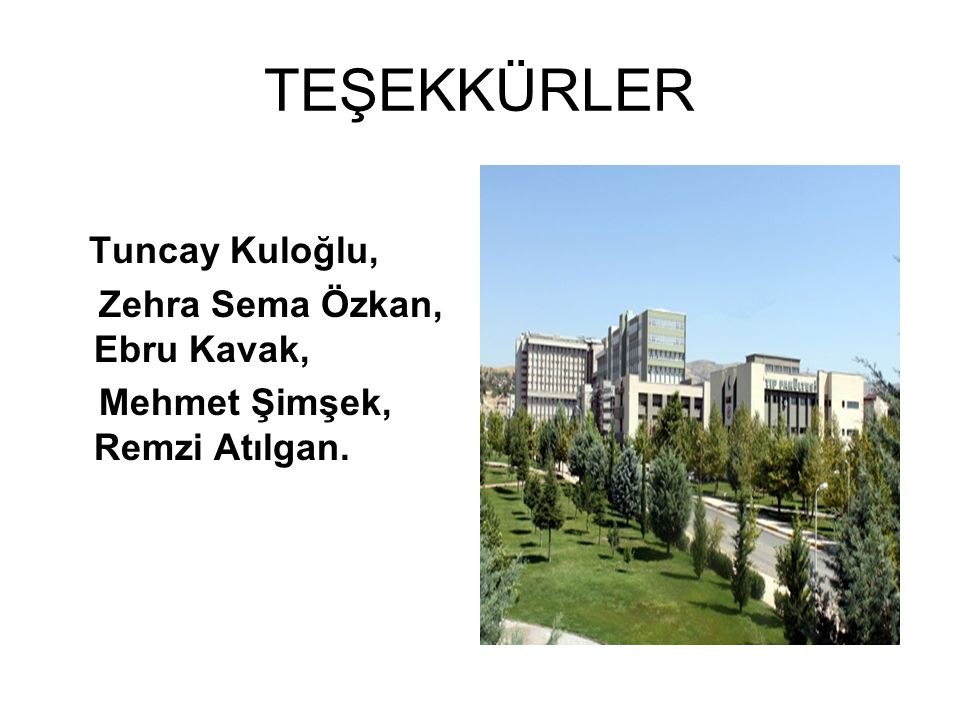 TEŞEKKÜRLER Tuncay Kuloğlu, Zehra Sema Özkan, Ebru Kavak,
