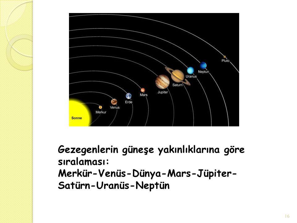 Gezegenlerin güneşe yakınlıklarına göre sıralaması: Merkür-Venüs-Dünya-Mars-Jüpiter-Satürn-Uranüs-Neptün