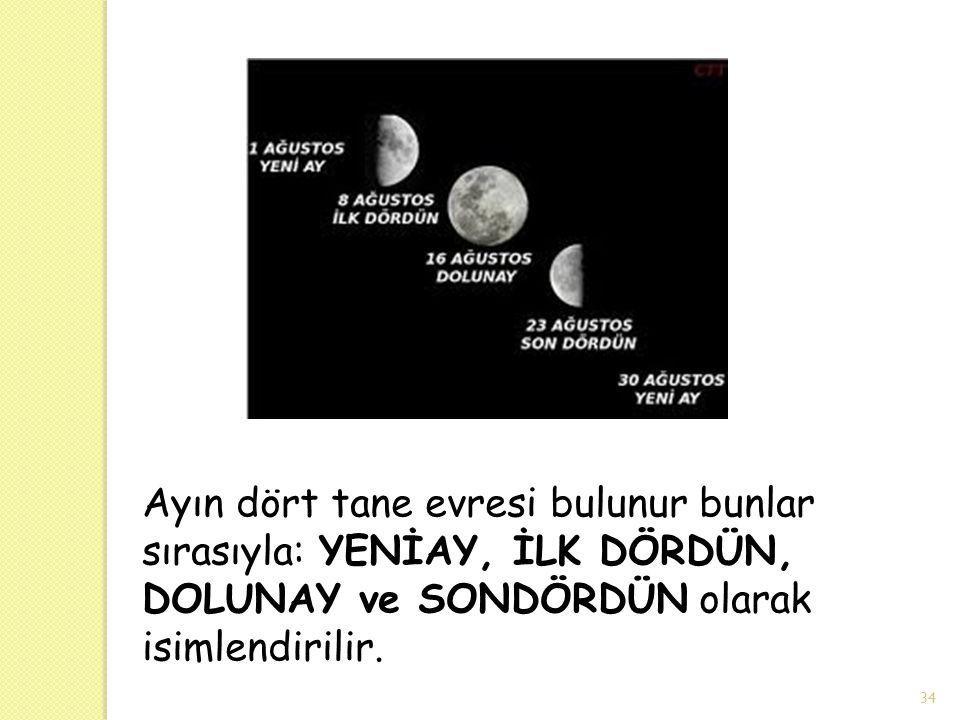 Ayın dört tane evresi bulunur bunlar sırasıyla: YENİAY, İLK DÖRDÜN, DOLUNAY ve SONDÖRDÜN olarak isimlendirilir.