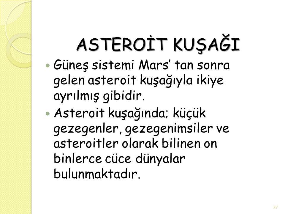 ASTEROİT KUŞAĞI Güneş sistemi Mars' tan sonra gelen asteroit kuşağıyla ikiye ayrılmış gibidir.