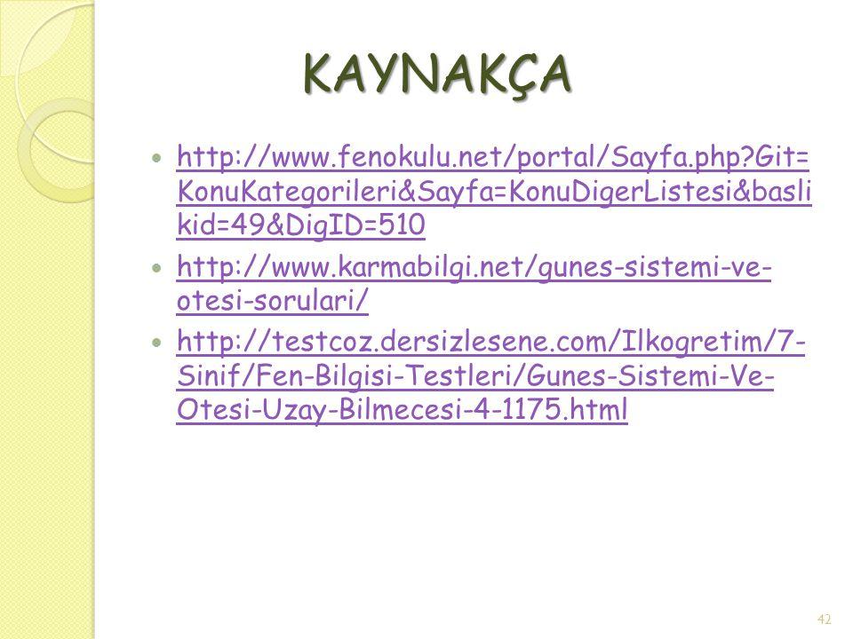 KAYNAKÇA http://www.fenokulu.net/portal/Sayfa.php Git= KonuKategorileri&Sayfa=KonuDigerListesi&basli kid=49&DigID=510.