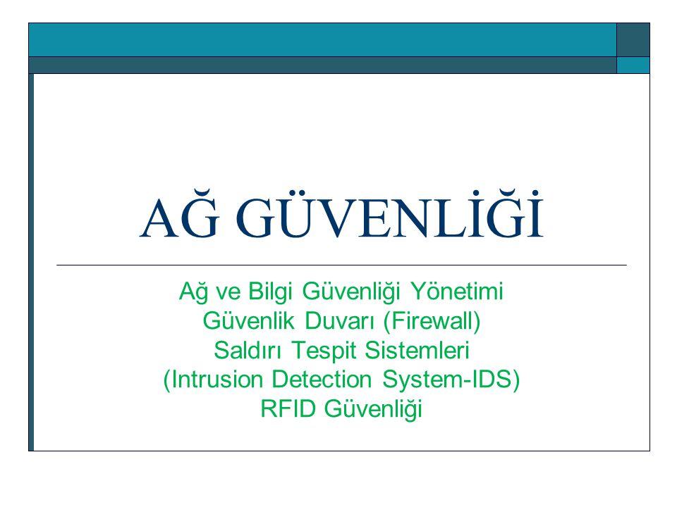 AĞ GÜVENLİĞİ Ağ ve Bilgi Güvenliği Yönetimi Güvenlik Duvarı (Firewall)