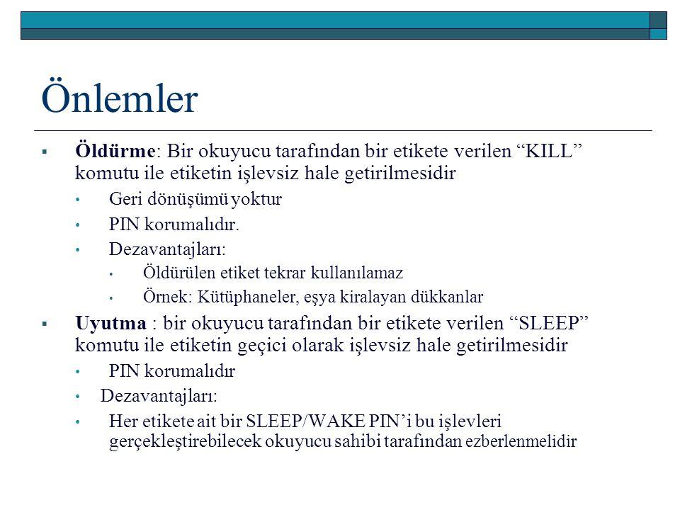 Önlemler Öldürme: Bir okuyucu tarafından bir etikete verilen KILL komutu ile etiketin işlevsiz hale getirilmesidir.