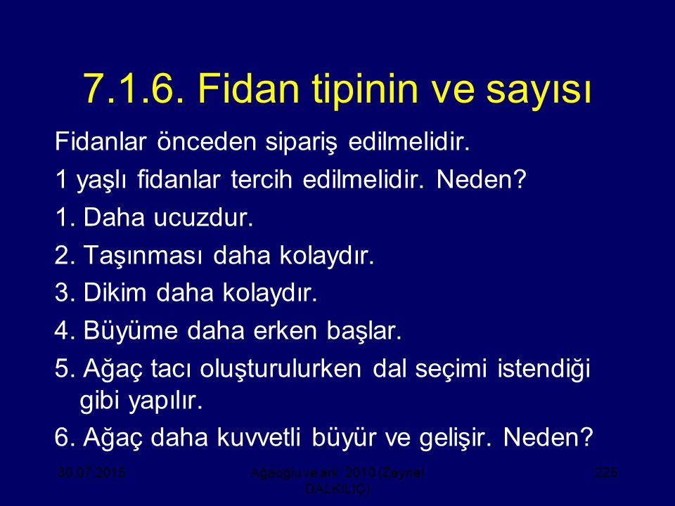 7.1.6. Fidan tipinin ve sayısı