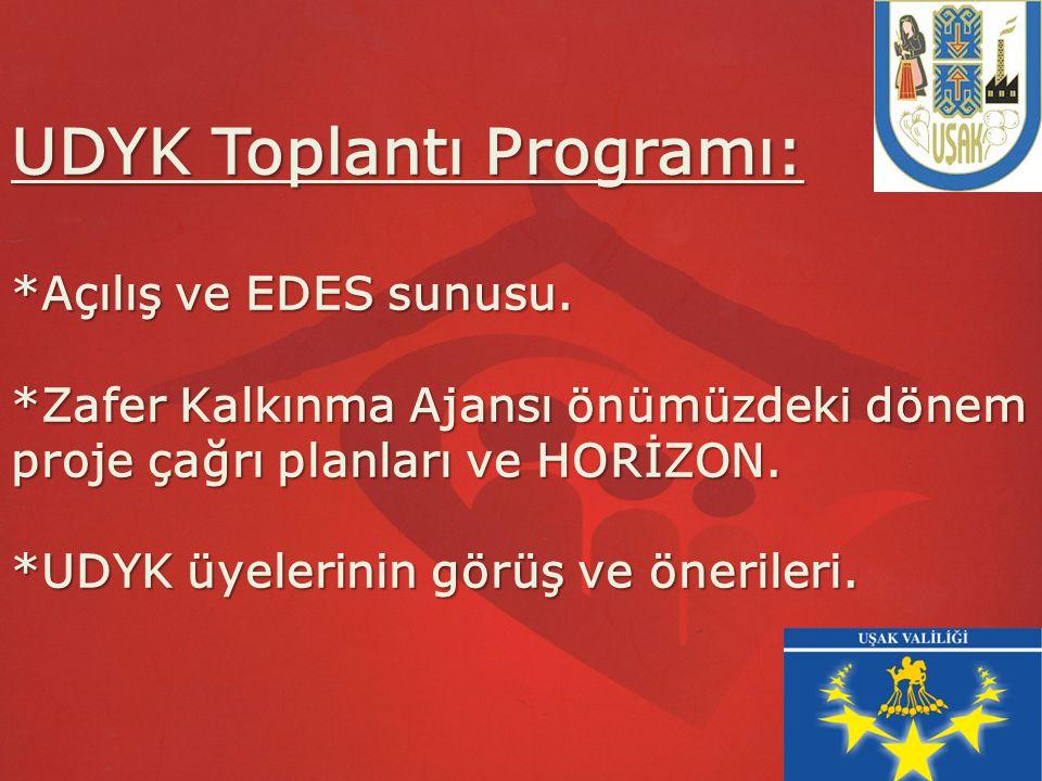 UDYK Toplantı Programı:. Açılış ve EDES sunusu