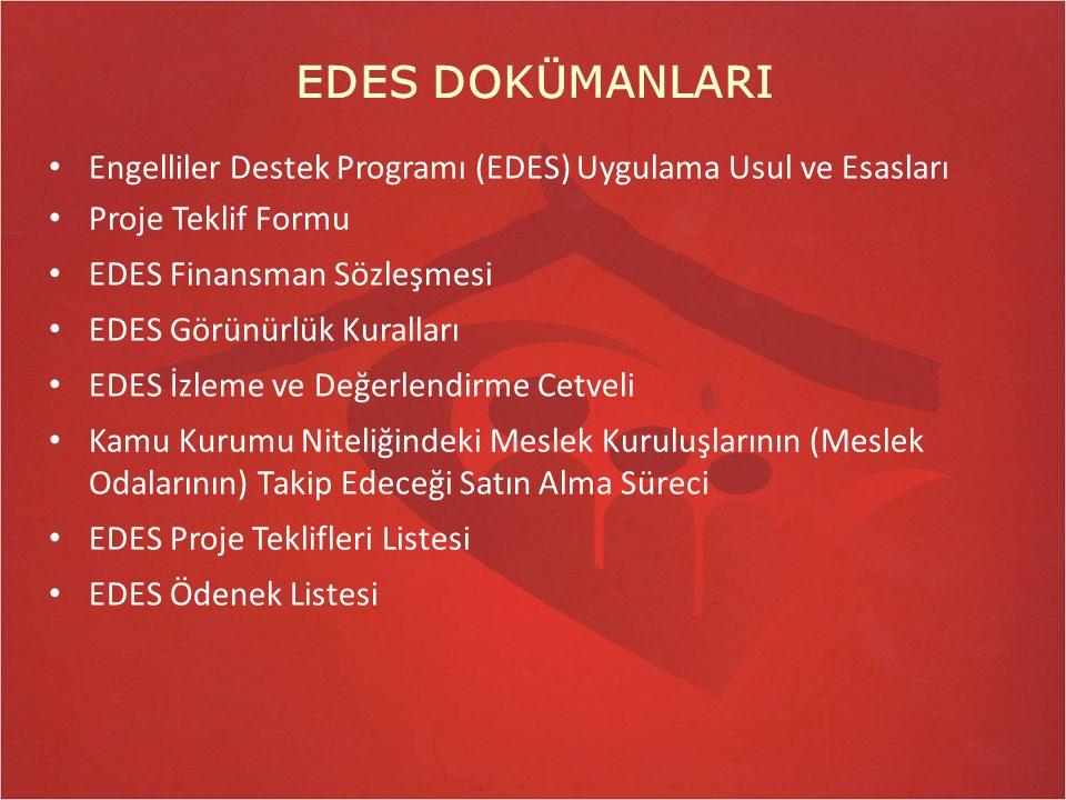EDES DOKÜMANLARI Engelliler Destek Programı (EDES) Uygulama Usul ve Esasları. Proje Teklif Formu. EDES Finansman Sözleşmesi.