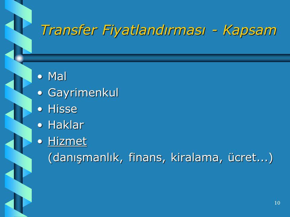 Transfer Fiyatlandırması - Kapsam