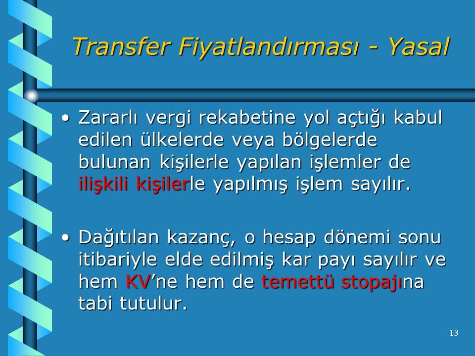 Transfer Fiyatlandırması - Yasal