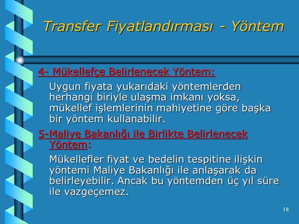 Transfer Fiyatlandırması - Yöntem