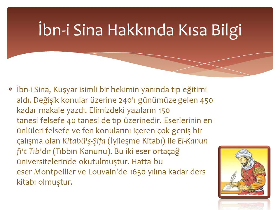 İbn-i Sina Hakkında Kısa Bilgi