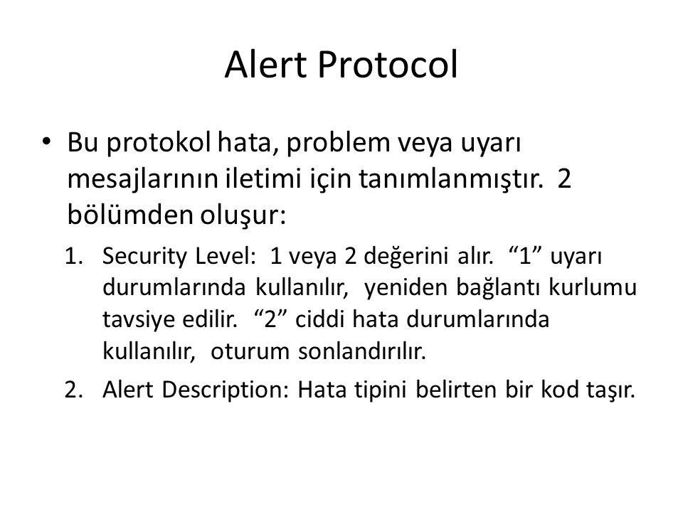 Alert Protocol Bu protokol hata, problem veya uyarı mesajlarının iletimi için tanımlanmıştır. 2 bölümden oluşur: