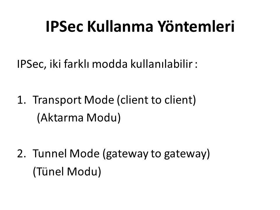 IPSec Kullanma Yöntemleri