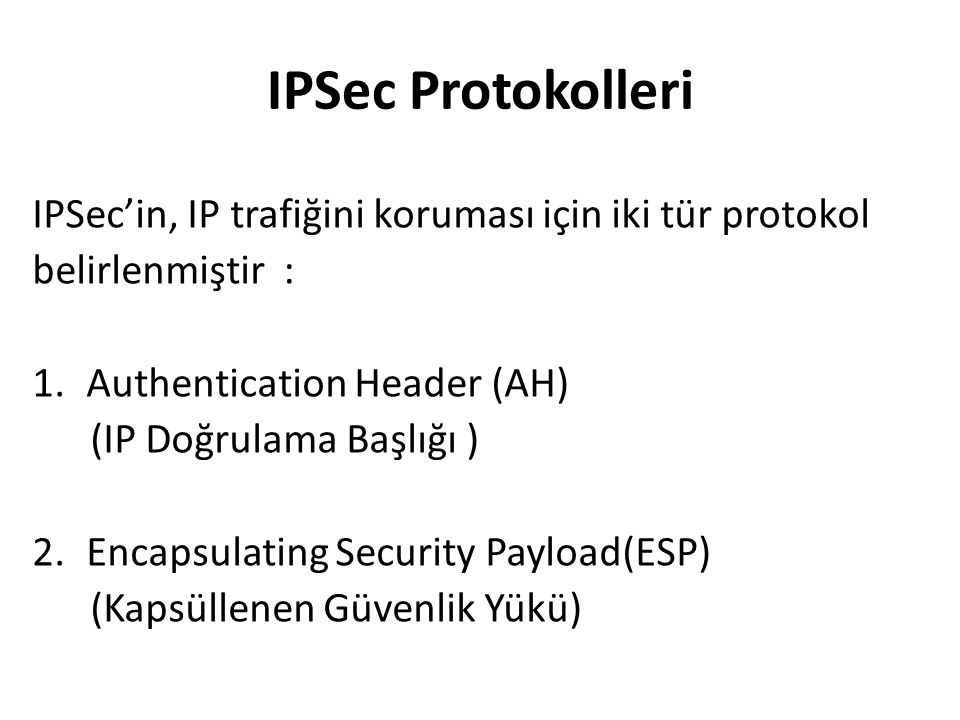 IPSec Protokolleri IPSec'in, IP trafiğini koruması için iki tür protokol. belirlenmiştir : Authentication Header (AH)