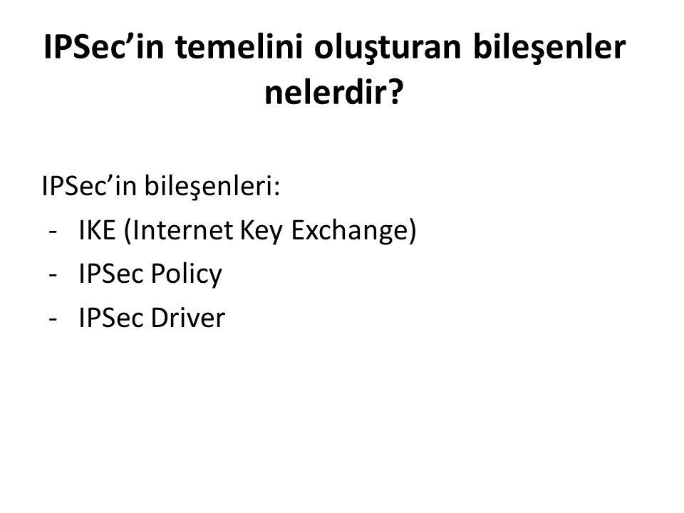 IPSec'in temelini oluşturan bileşenler nelerdir