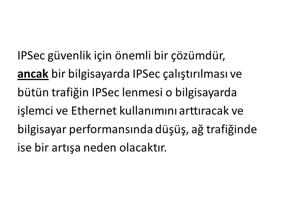 IPSec güvenlik için önemli bir çözümdür, ancak bir bilgisayarda IPSec çalıştırılması ve bütün trafiğin IPSec lenmesi o bilgisayarda işlemci ve Ethernet kullanımını arttıracak ve bilgisayar performansında düşüş, ağ trafiğinde ise bir artışa neden olacaktır.