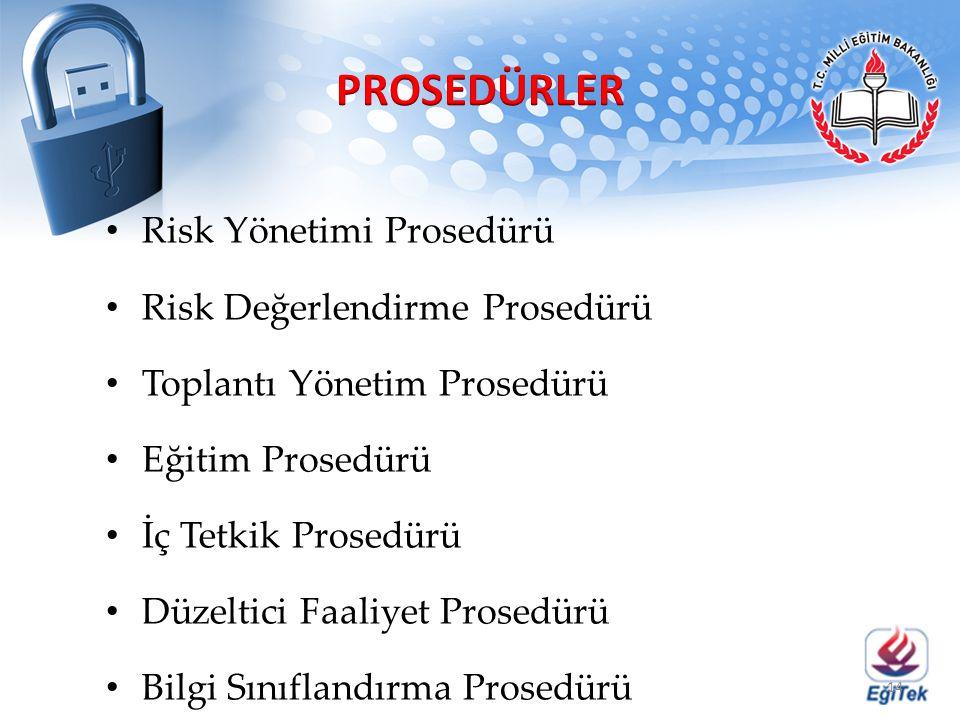 PROSEDÜRLER Risk Yönetimi Prosedürü Risk Değerlendirme Prosedürü