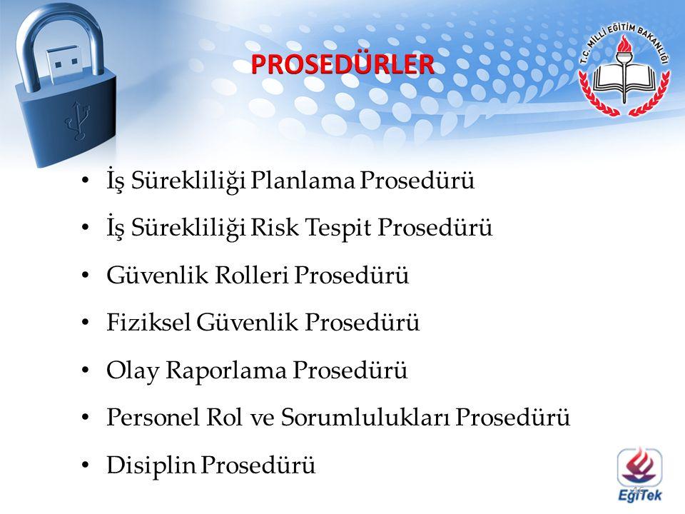 PROSEDÜRLER İş Sürekliliği Planlama Prosedürü