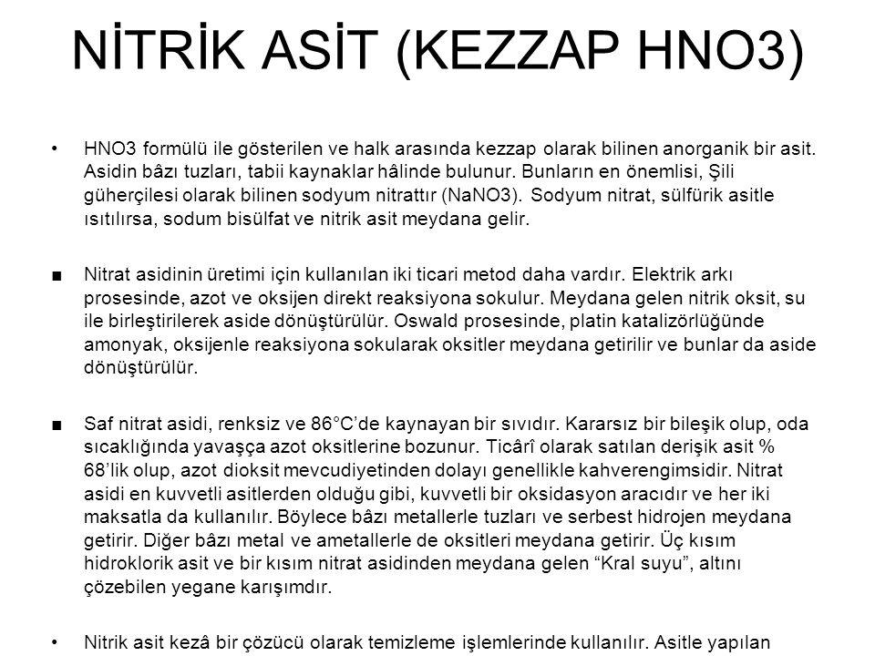 NİTRİK ASİT (KEZZAP HNO3)