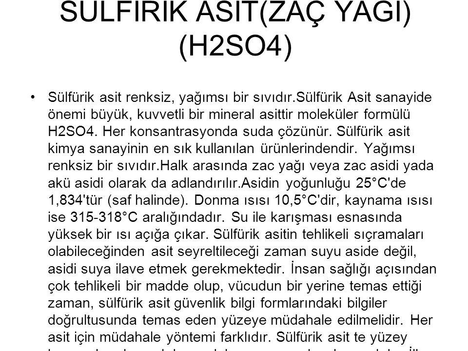 SÜLFİRİK ASİT(ZAÇ YAĞI) (H2SO4)