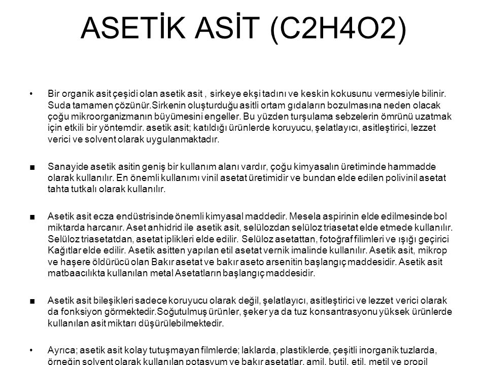ASETİK ASİT (C2H4O2)