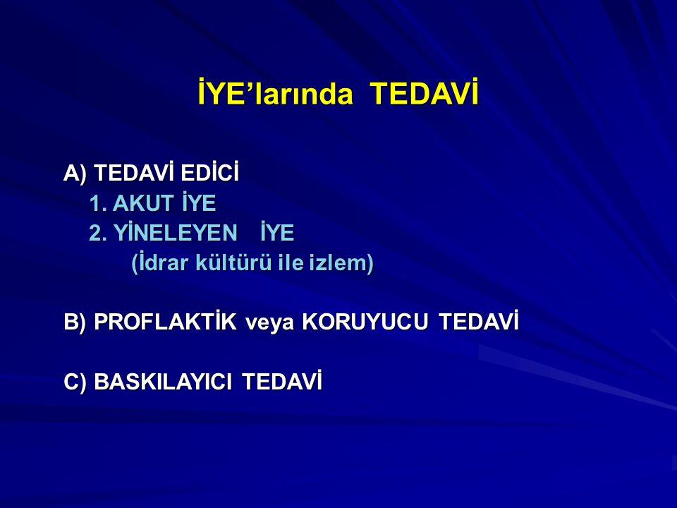 İYE'larında TEDAVİ A) TEDAVİ EDİCİ 1. AKUT İYE 2. YİNELEYEN İYE