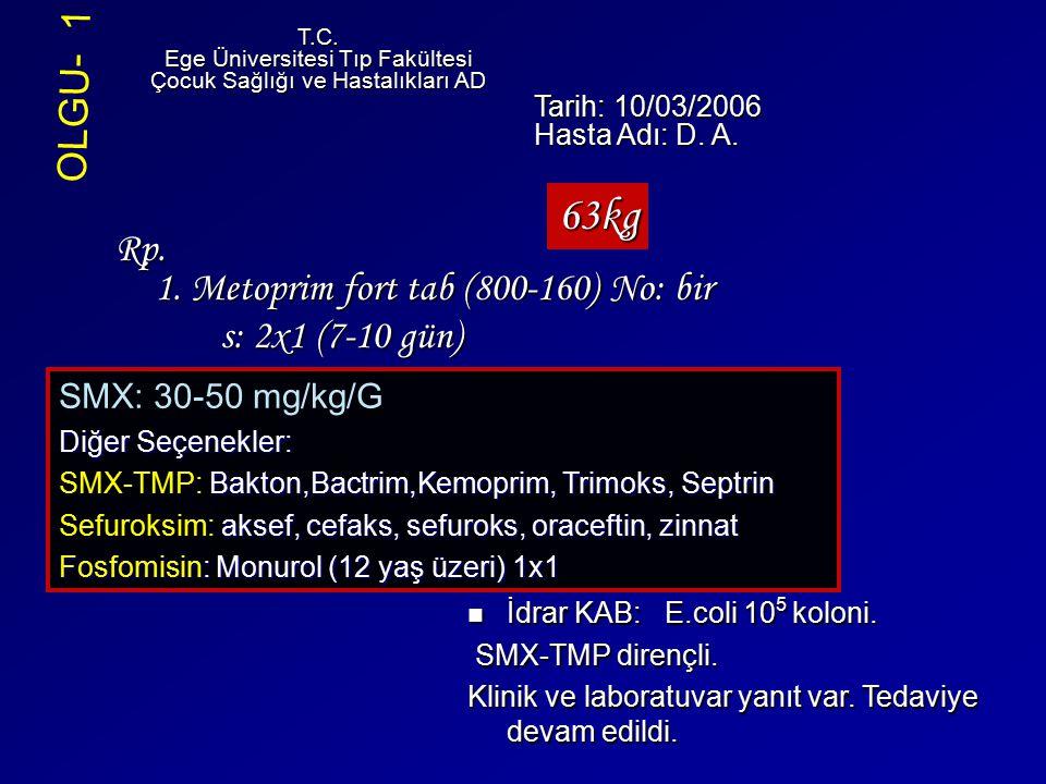 63kg OLGU- 1 Rp. 1. Metoprim fort tab (800-160) No: bir