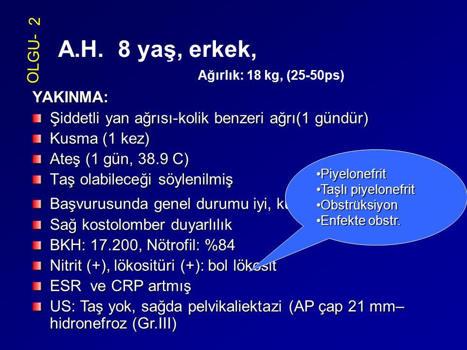 A.H. 8 yaş, erkek, Ağırlık: 18 kg, (25-50ps) OLGU- 2 YAKINMA: