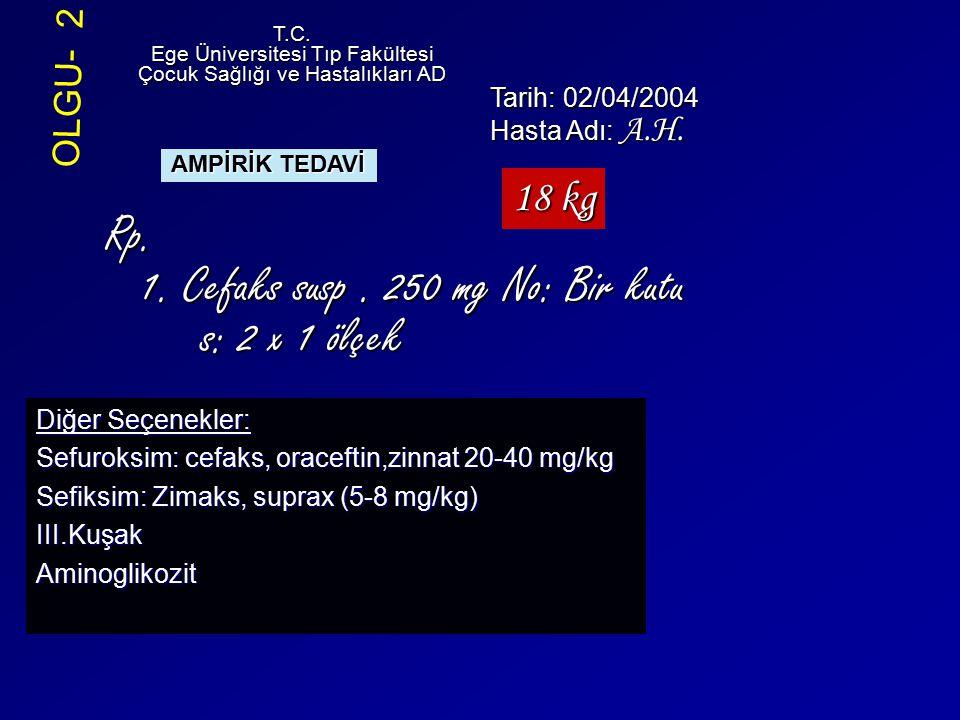Rp. 1. Cefaks susp . 250 mg No: Bir kutu s: 2 x 1 ölçek