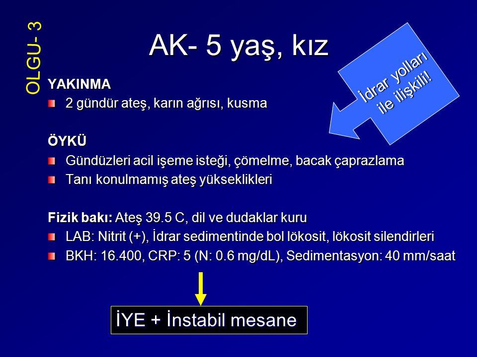 AK- 5 yaş, kız OLGU- 3 İYE + İnstabil mesane İdrar yolları
