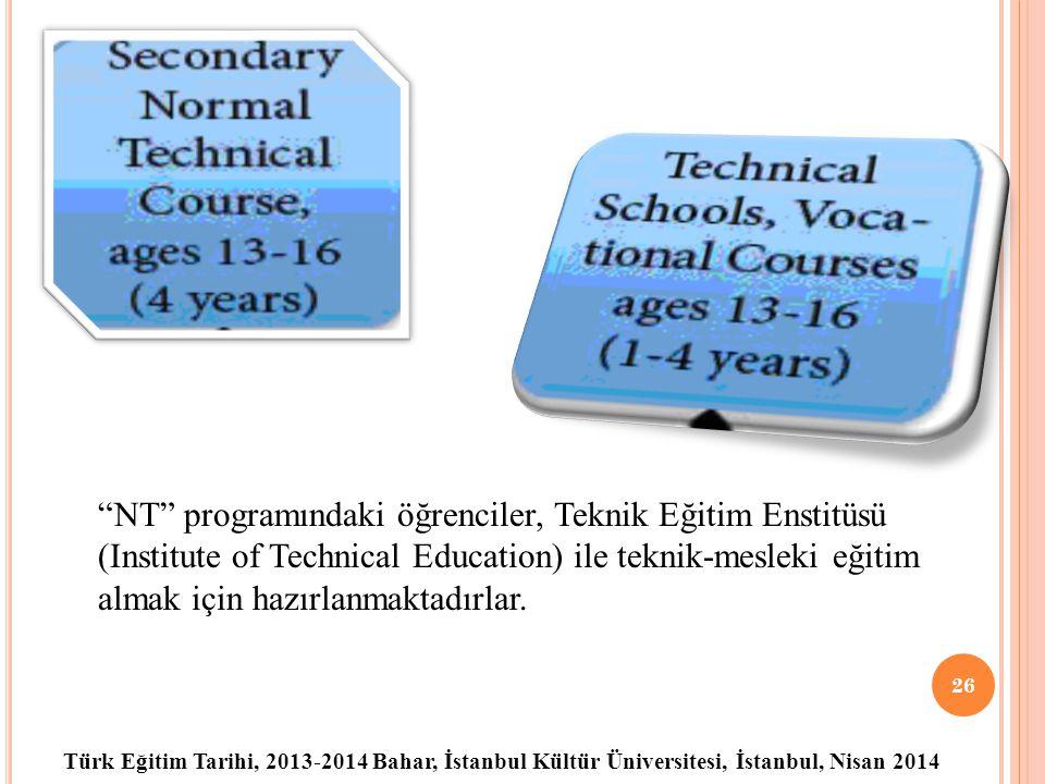 NT programındaki öğrenciler, Teknik Eğitim Enstitüsü (Institute of Technical Education) ile teknik-mesleki eğitim almak için hazırlanmaktadırlar.