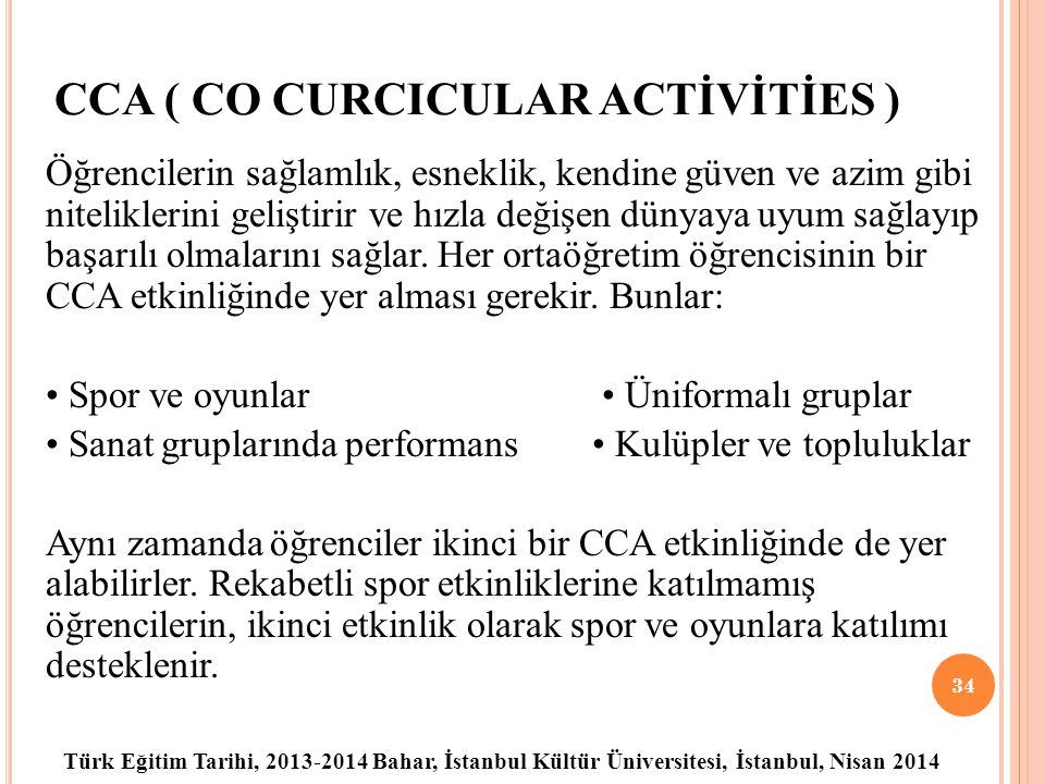 CCA ( CO CURCICULAR ACTİVİTİES )