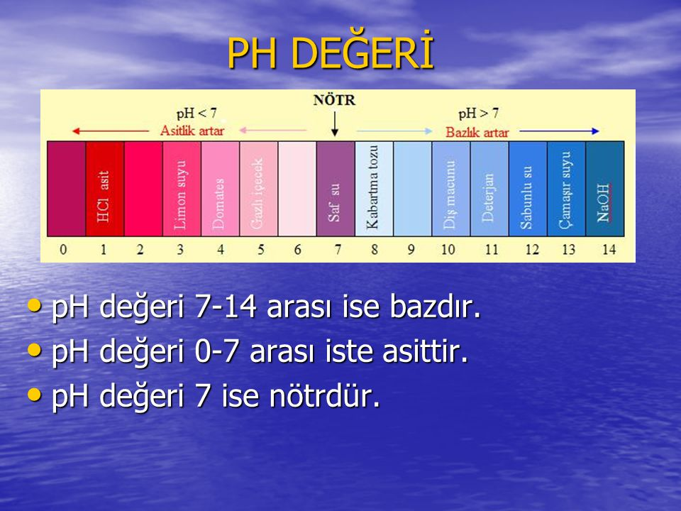 PH DEĞERİ pH değeri 7-14 arası ise bazdır.