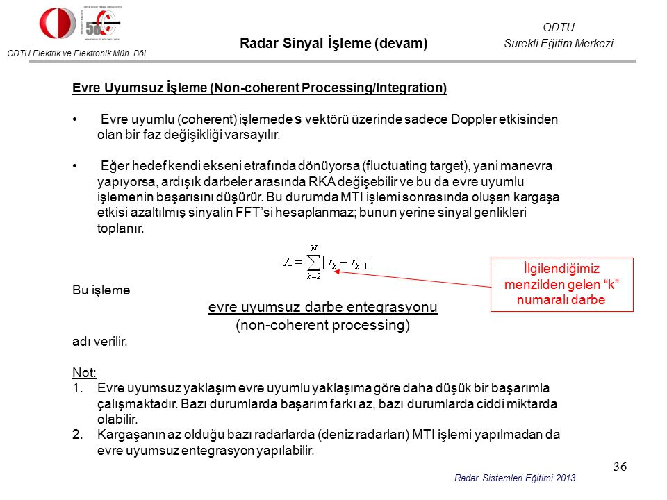 Radar Sinyal İşleme (devam)