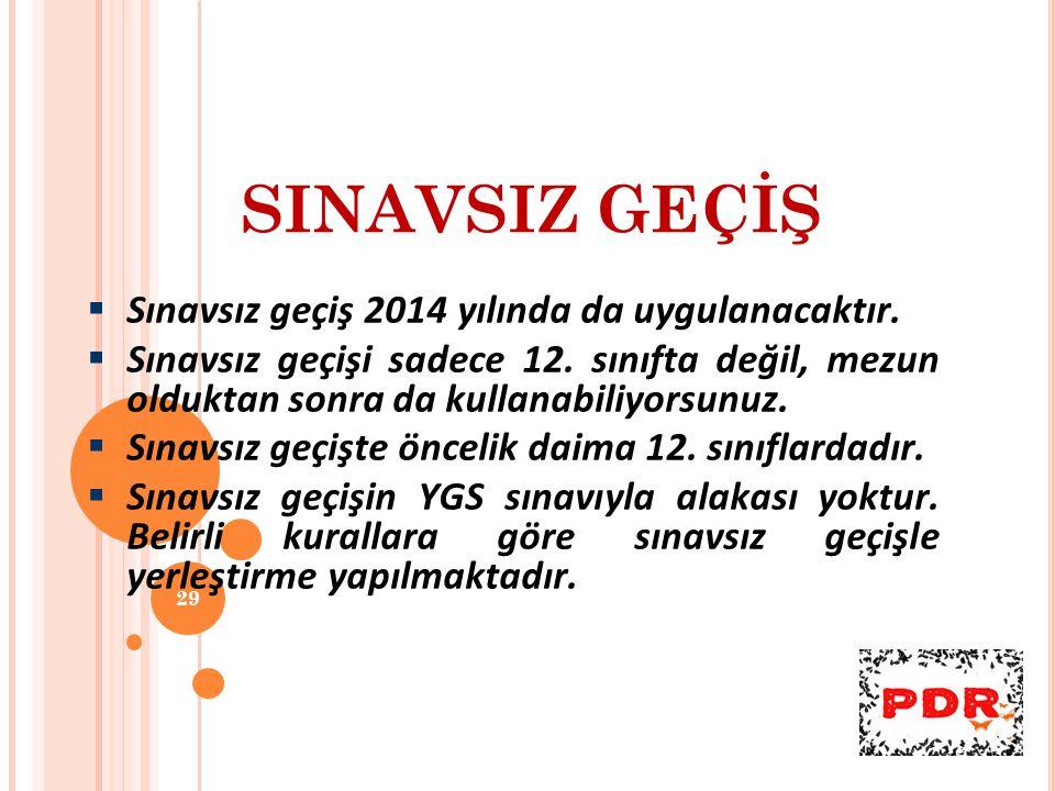 SINAVSIZ GEÇİŞ Sınavsız geçiş 2014 yılında da uygulanacaktır.