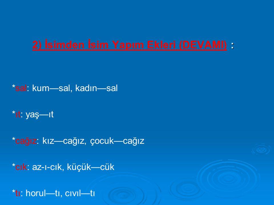 2) İsimden İsim Yapım Ekleri (DEVAMI) :