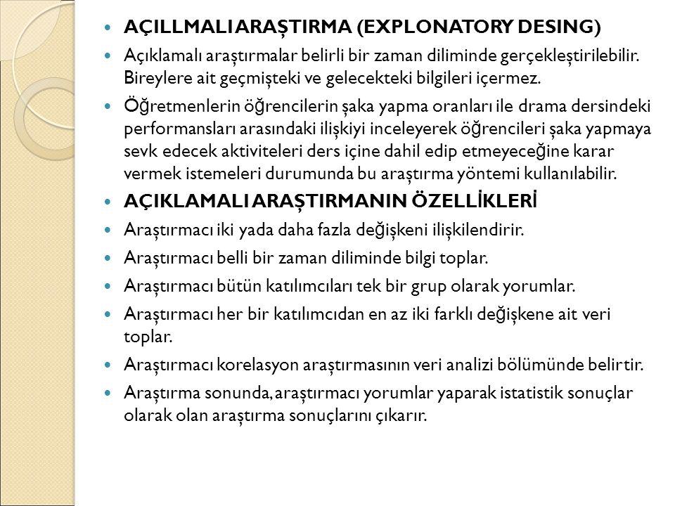 AÇILLMALI ARAŞTIRMA (EXPLONATORY DESING)