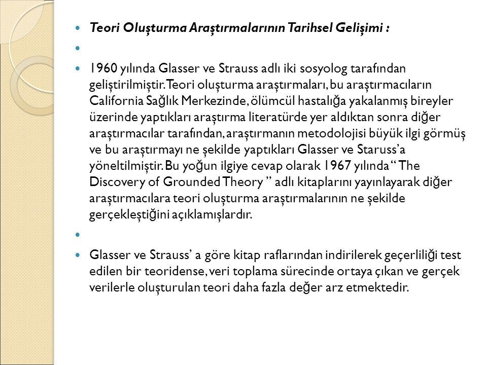 Teori Oluşturma Araştırmalarının Tarihsel Gelişimi :