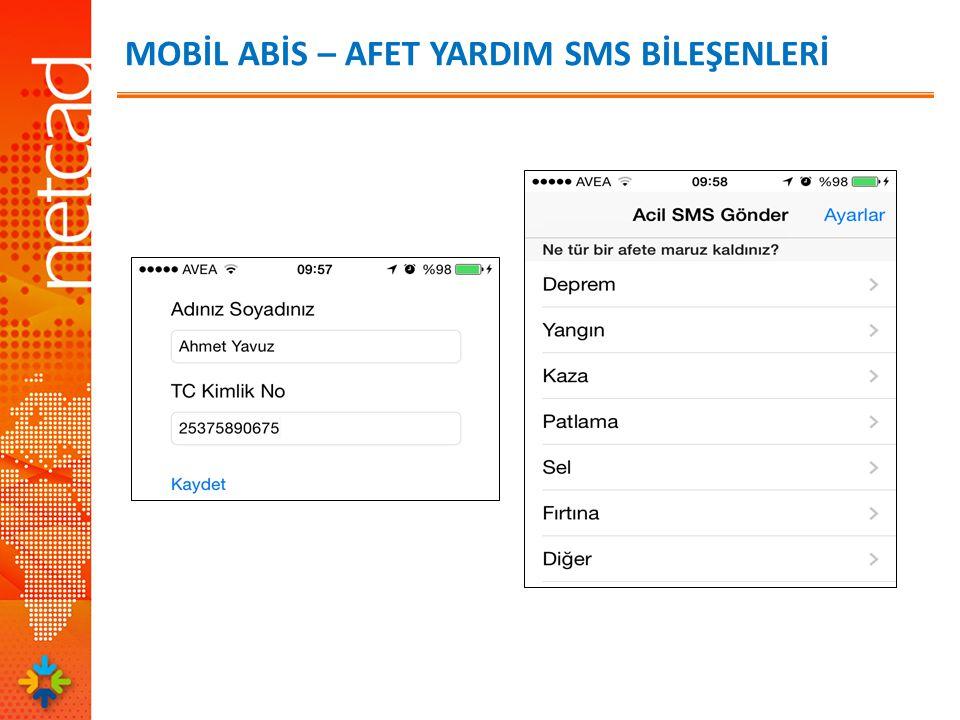 MOBİL ABİS – AFET YARDIM SMS BİLEŞENLERİ